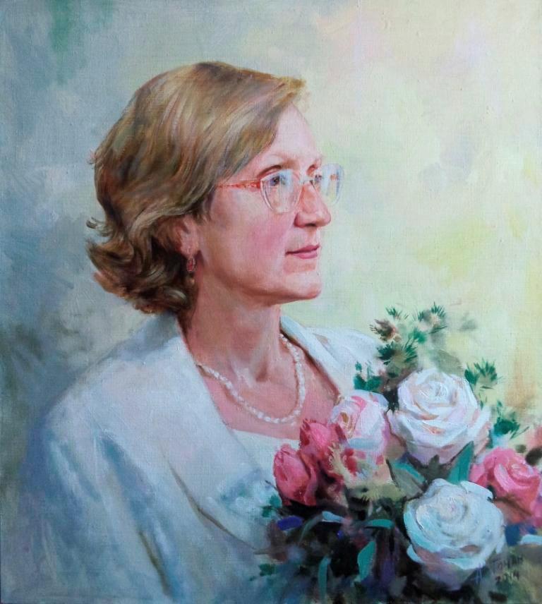 Женский портрет по фото маслом холст